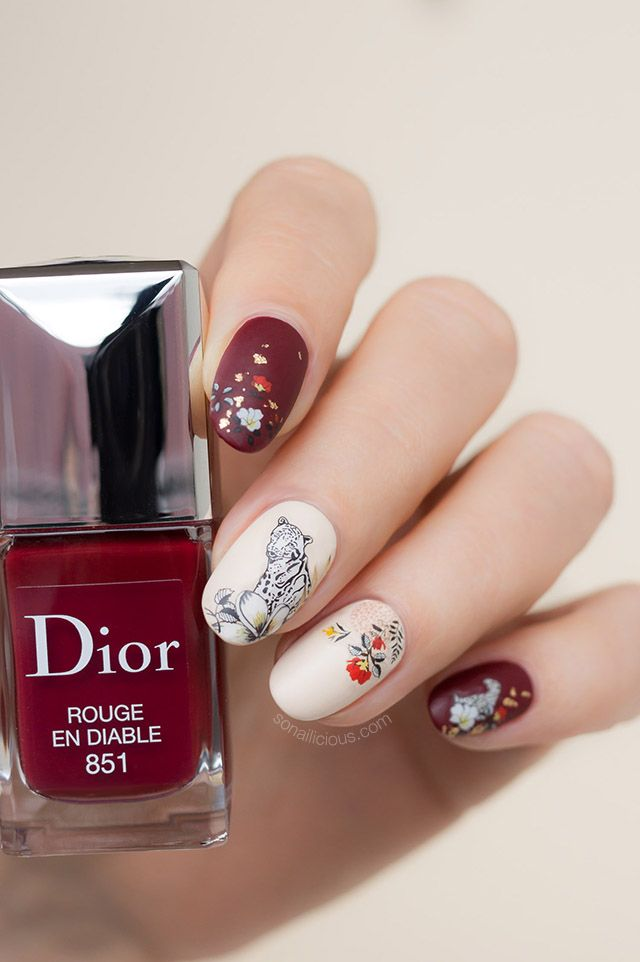 Floral Leopard Nails | NAIL PORN | Dark nail art, Leopard