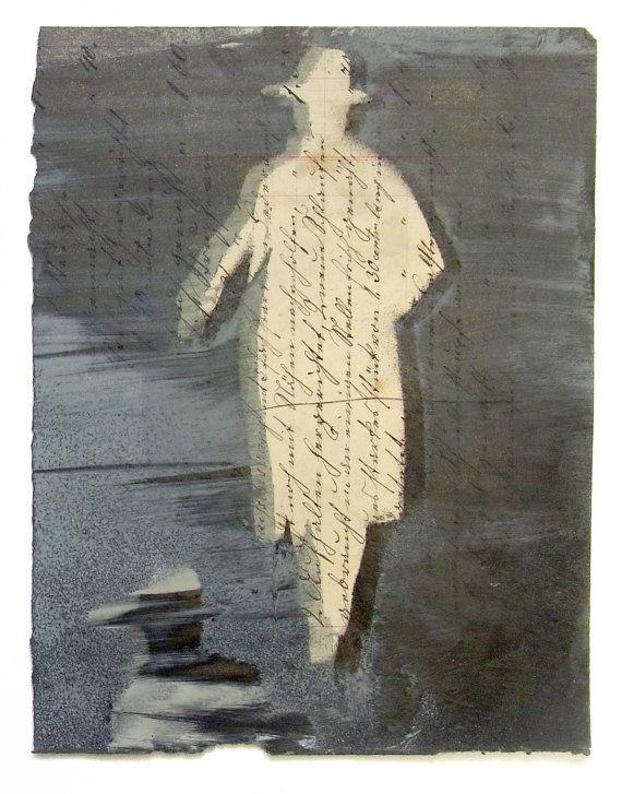 Pessoa. Pintura de Juanma Pérez sobre  documento alemán antiguo original (aprox. 1920).
