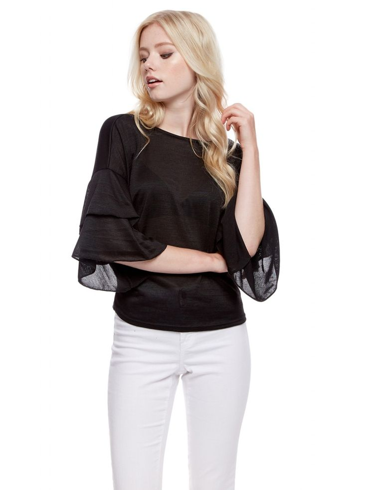 Z2018  Add some glam to your knitwear collection with this flirty frill sleeve jumper. Featuring a layered ruffle sleeve and a round neckline, it's a style steal! T...