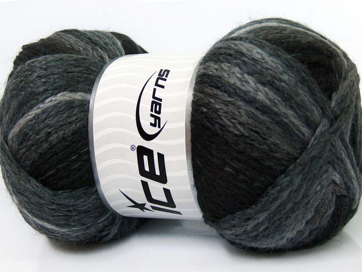 Fiber Content 97% Acrylic 3% Polyamide Brand ICE Grey Shades Black fnt2-41669