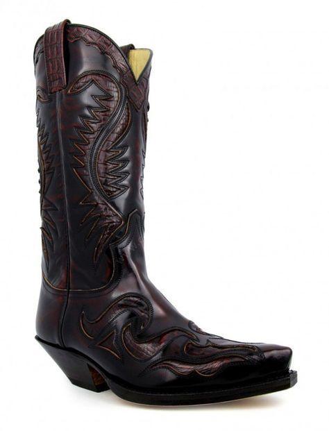 12364 Cuervo Florentic Fuchsia-Coco Fuchsia | Bota cowboy Sendra para hombre combinación piel burdeos brillante e imitación cocodrilo. Espectaculares! | Printed croco and shiny burgundy Sendra cowboy boots, awesome!