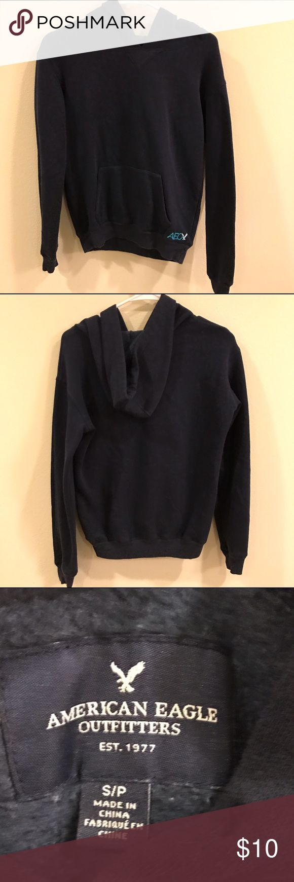 American Eagle Outfitters navy hoodie Worn a couple times. Great condition. American Eagle Outfitters Tops Sweatshirts & Hoodies