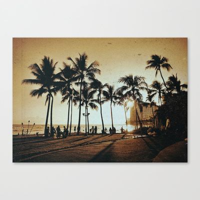 Sepia Hawaii Canvas Print by Stoneriver - $85.00  LIVE ALOHA Art Print by Stoneriver - $15.00   #hawaii #sunset #romantic #vacation #travel #trip #silhouette #palmtree #nature #dusk #landscape #ocean #surfing #oahu #waikiki #waikikibeach #beach #tropical #typography #aloha #livealoha #colorful #happy #present #sepia #vintage #canvas #canvasprint