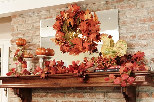 nice fall mantle..: Creative Ideas, Fall Mantels, Fall Mantles, Fall Ideas, Fall Halloween, Fall Wreaths, Nice Fall, Halloween Thanksgiving Fall