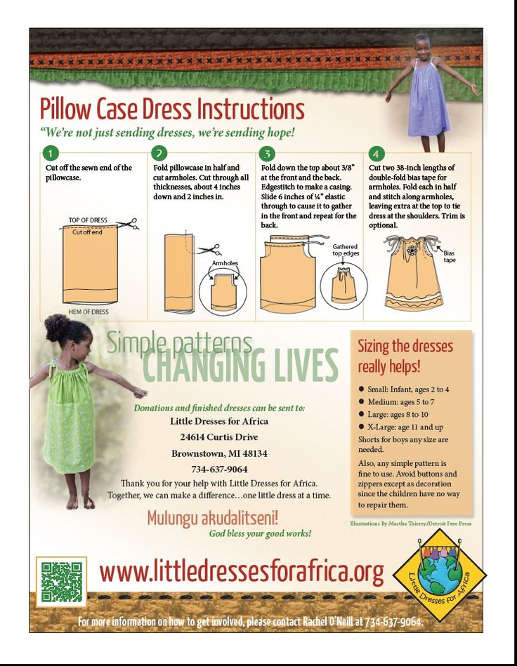 "Free sewing pattern instructions on how to make ""Pillowcase Style Dresses"" for the organization Little Dresses for Africa."