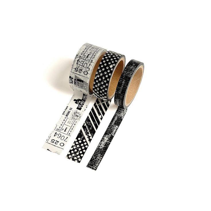 3er-Set Klebeband schwarz  <p>Klebeband<br /> Material: 100% Japanpapier (Washi Paper)<br /> Farbe: schwarz<br /> Maße: ca. B:10 x L:500 cm, ca. B:15 x L:500 cm, ca. B:20 x L:500 cm<br /> Inhalt: 3 Stück Klebeband mit jeweils unterschiedlichen Breiten</p> <p>Ein Must-Have für Hobbybastler und Dekofans: Dieses originelle schwarz-weiße Klebeband-Set ist genau das Richtige, um kreative Highlights zu setzen. Ob auf Geschenken, zum Binden von Blumen oder einfach so als Deko...  4,99€