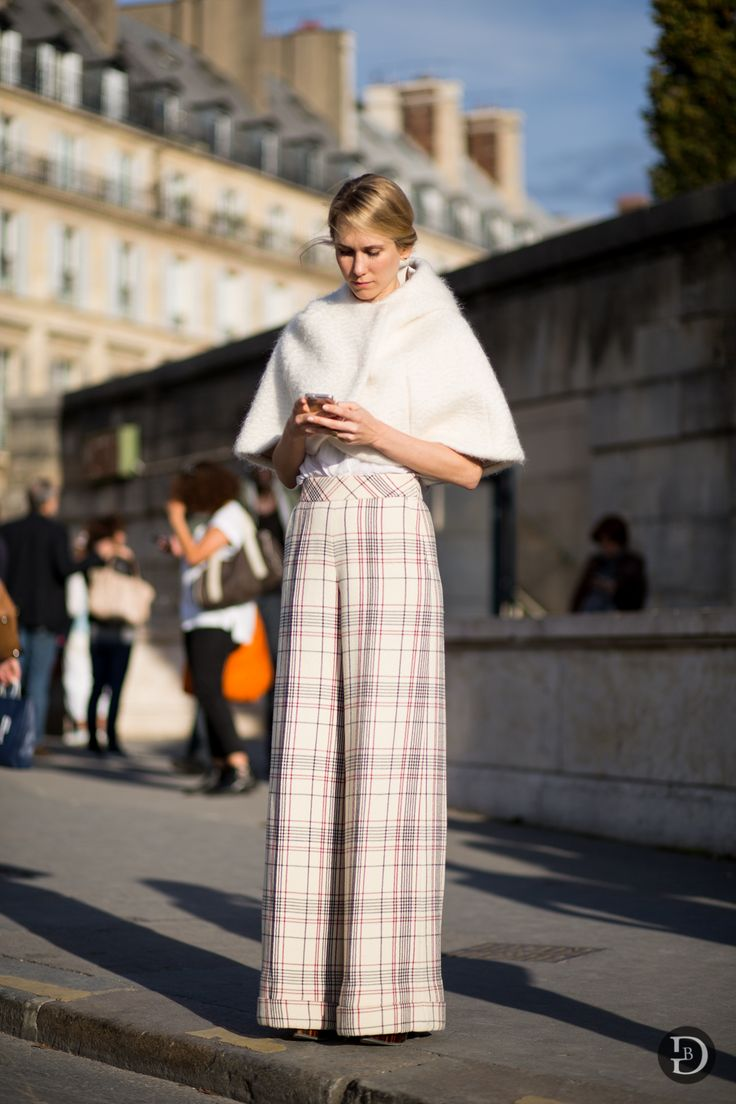 cape & plaid. #IndreRockefeller in Paris.