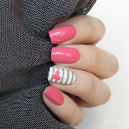 fun nail ideas! #nail #polish #manicure http://spoonful.com/crafts/just-lovely-20-nail-art-ideas-valentines-day |For more Bold Nails: https://www.pinterest.com/thevioletvixen/bold-nails/