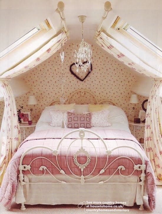 Little Girl's Bedroom - I love how the curtain panels are held back by a curtain…