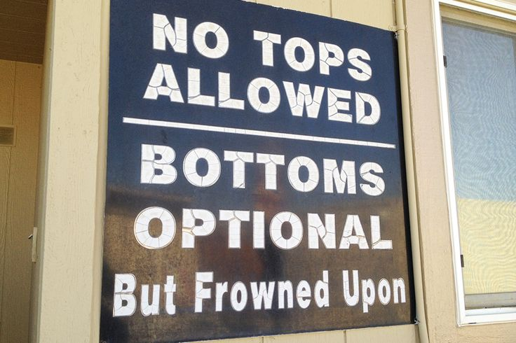Sign at the pool inside Nevada's Moonlite BunnyRanch brothel.