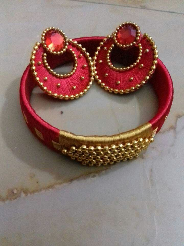 red and cream silk thread chandbalis n bangles