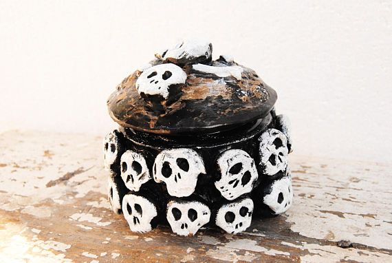 Skull stash jar Witch jar Voodoo skull jar Pirate decor
