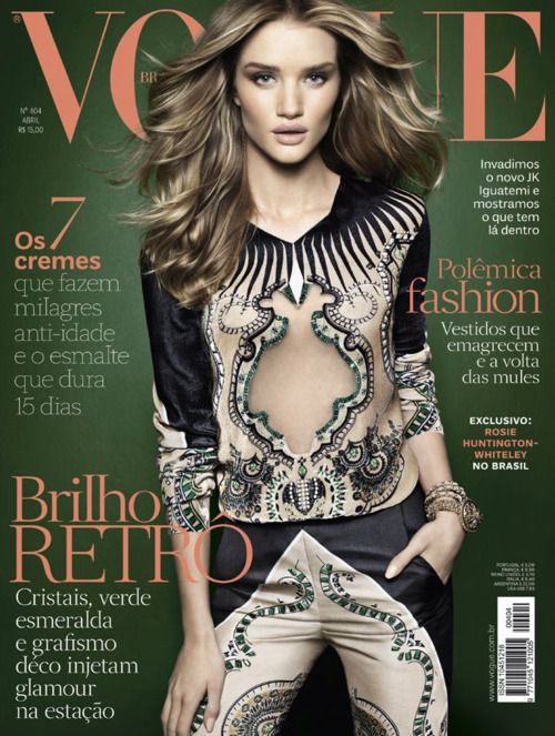 Another lovely cover of Rosie Huntington-Whiteley for the April 2012 issue of Vogue Brazil. Photographed by Henrique Gendre.