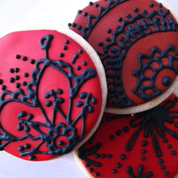 black lace cookies: Cookiesgreat Food, Valentines Cookies, Lace Cookies, Valentine'S Black, Black Laces, Cookies Myvalentin, Cookies Frostings, Red Velvet Cupcakes, Cookiesyummi Food