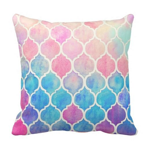Very pretty watercolor pillow that looks like stained glass