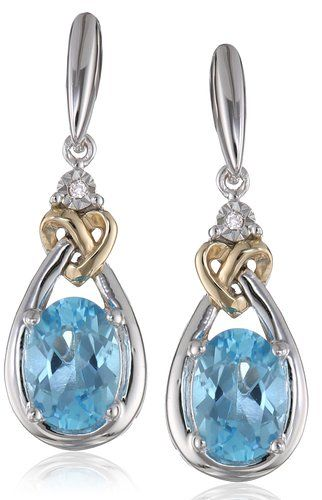 Love Knot Sterling Silver and 14k Yellow Gold Blue Topaz with Diamond-Accent Earrings: