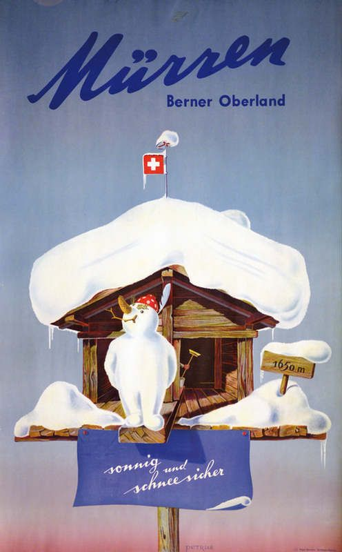 Mürren. Berner Oberland. sonnig und schneesicher. Künstler: Petrus. 1945.