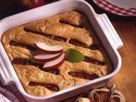 A fun breakfast bake!  Apple and cinnamon pancake batter bakes around sausage links, similar to pigs in blankets, the breakfast diner favorite.