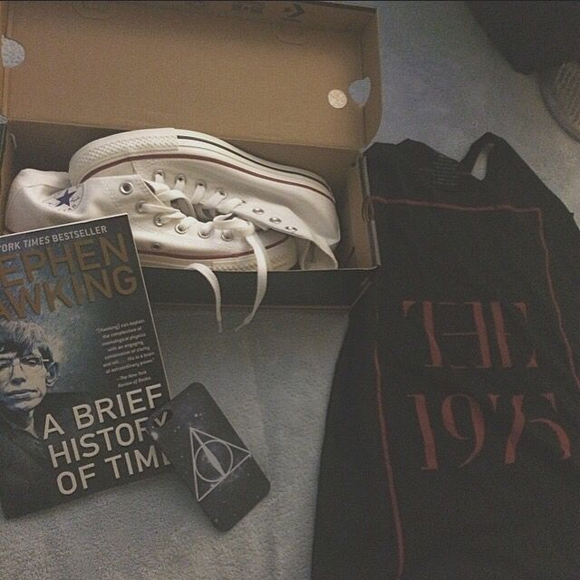 The 1975 shirt  White converse Harry Potter phone case A brief history of time book.