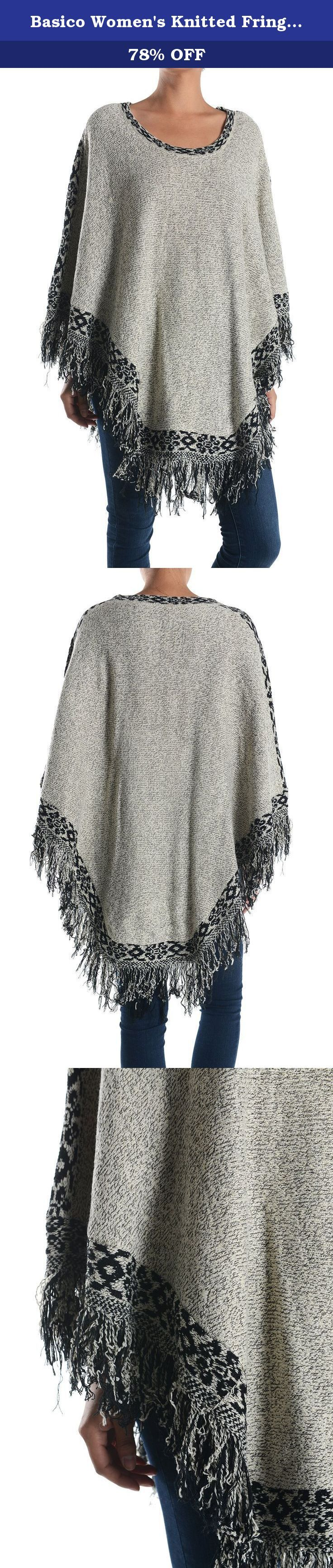 """Basico Women's Knitted Fringe Trim Sweater Poncho Cape Shawl Wrap One Size(Aztec Trim Poncho). The measurements of the item are taken when laid flat • Length (from center neck to base point): 34"""" • Chest (at the widest point): 30"""" • Turtle Neck & Hoodie Height : 11"""" • Side seam: 21""""."""