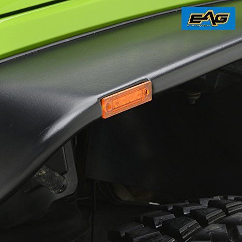 EAG Flat Style Fender Flares Set of 4 With LED Amber Side Marker for 07-17 Jeep Wrangler JKFitment: 2007-2017 Jeep Wrangler JK Unlimited, 2 door and 4 door