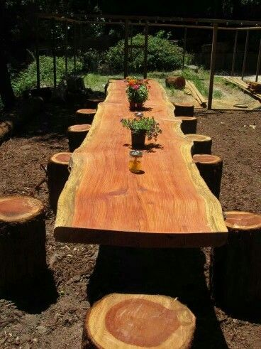 Rustic outdoor dining table made from a really long slab cut long ways  from a log & the seats are all logs cut from a tree about 14 - 16 inches across & about 24 inches long