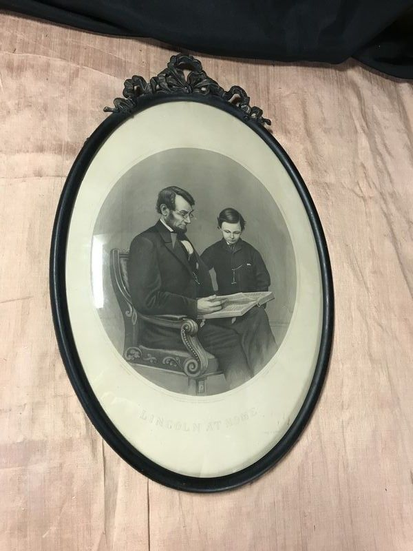Lincoln At Home Victorian Print By Hb Hall Jr Brady Photo Set In