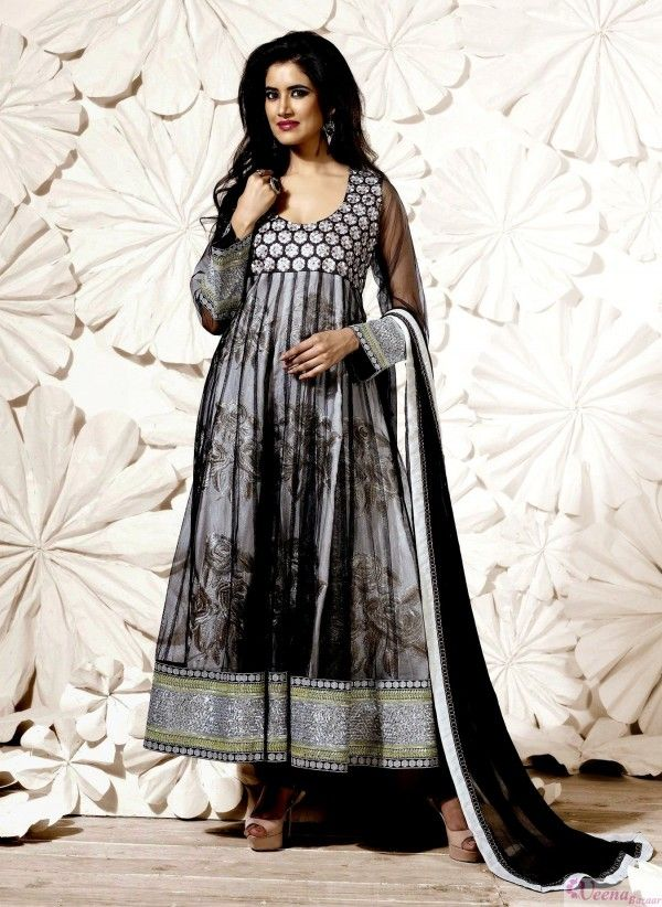 Black And Grey Patch Work Net Anarkali Suit with Pure Chiffon Dupatta