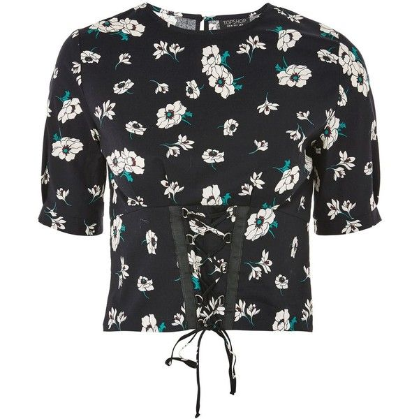 Topshop Floral Print Poplin Corset Top (€7,97) ❤ liked on Polyvore featuring tops, black, corset style tops, corset crop top, flower print crop top, floral tops and corsette tops