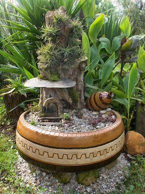 Paso a paso maceta de neum tico con decoraci n de huella for Decoracion de jardin con neumaticos