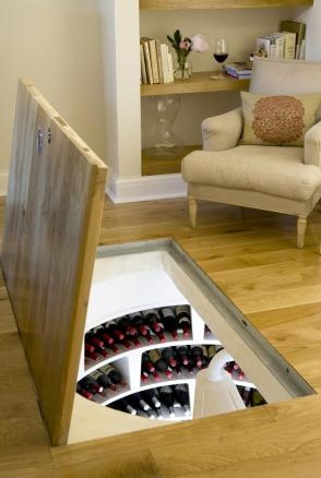 Secret wine cellar, I want to do this with a secret library of books and movies instead of wine