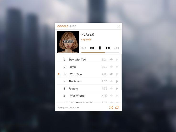 Google Music Mini-Player (PSD)