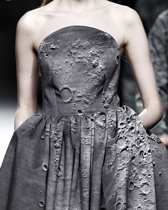 Moon Crater Print Dress - high impact, photographic printed fashion; textural surfaces // Ana Locking Fall 2014
