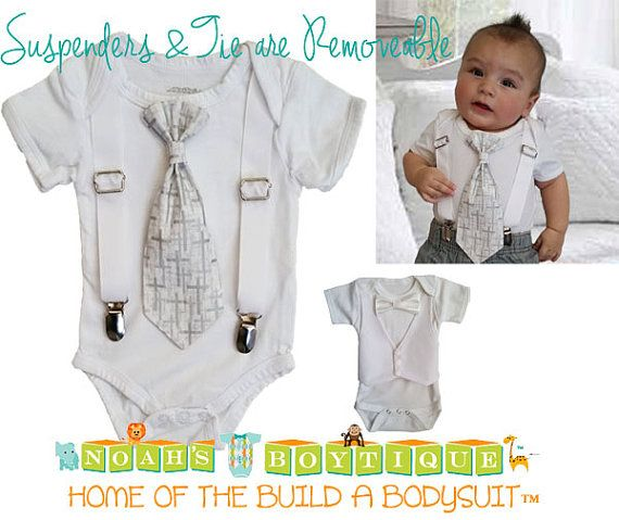Baptism Outfits for Boys - Baby Boy Baptism Outfit - Cross Tie - Silver - White - Grey - Christening - Dedication - Baby Boy - Clothes by Noah's Boytique