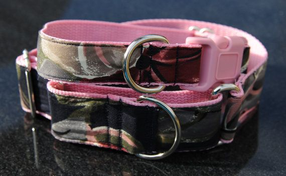 One Inch Handmade Dog Collars Available as Buckle Pink Dog Collar or Martingale Dog Collar, Made in USA from Recycled Necktie