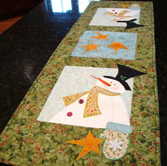 LOVE THIS! snowman quilted table runner