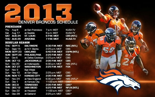 2013 Denver Broncos Schedule