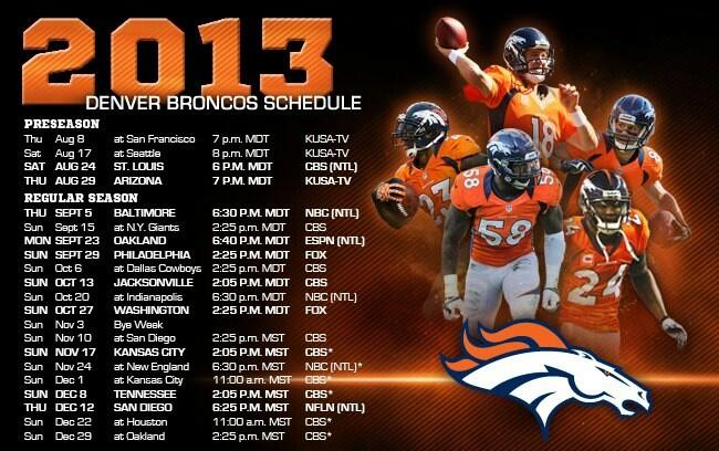 2013 Denver Broncos Schedule
