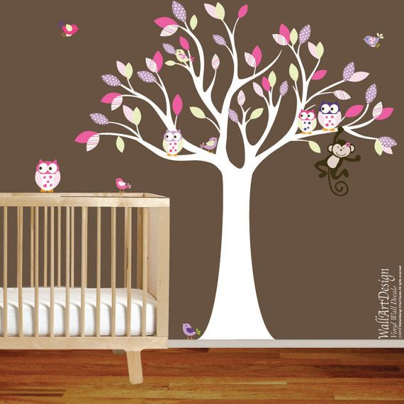 Wall decal tree with pattern leavesmonkeyowl and di wallartdesign