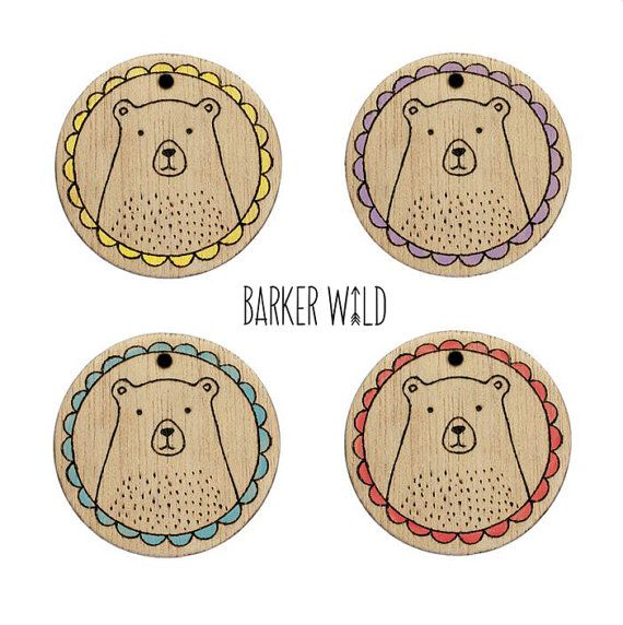 Cartoon Bear pendant or bear brooch Pyrography Wearable Art by Barker Wild at barkerwild.com (also on etsy). Copyright Karen Barker #BarkerWild