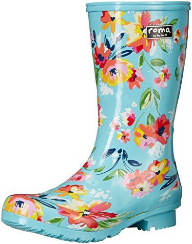 Roma Womens Short Rain Boot Turquoise Floral 9 M US * You can get more details by clicking on the image.