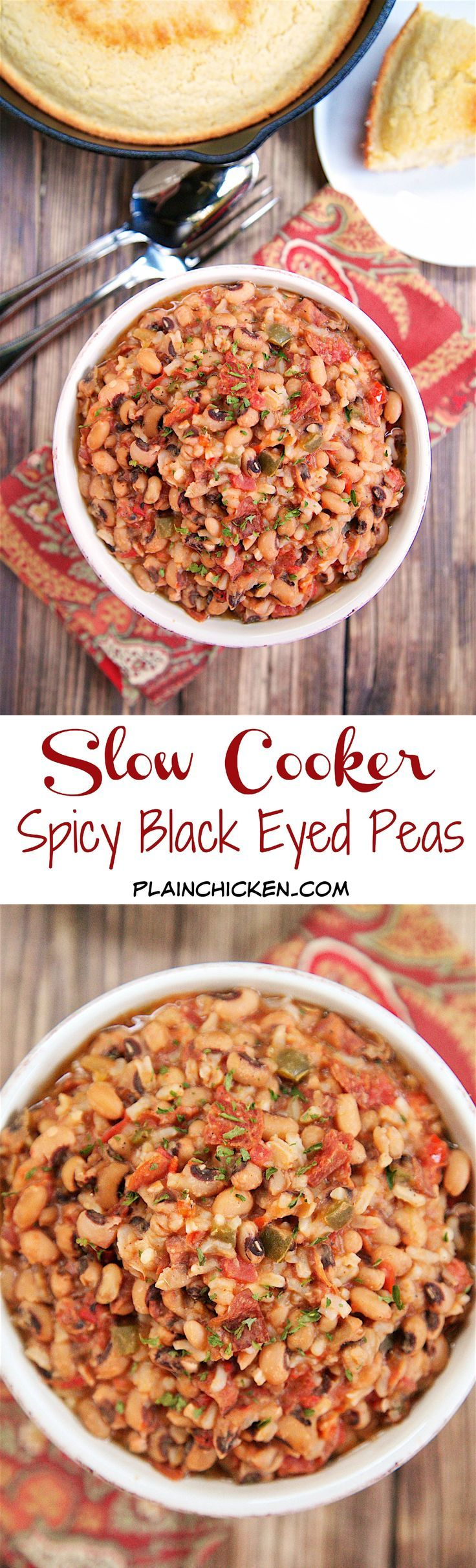 Slow Cooker Spicy Black Eyed Peas - black eyed peas, chicken broth, green onions, tomatoes, jalapeños, red pepper, pepperoni and rice. It is a meal in itself! Just add some greens and cornbread to complete the New Year's Day spread!