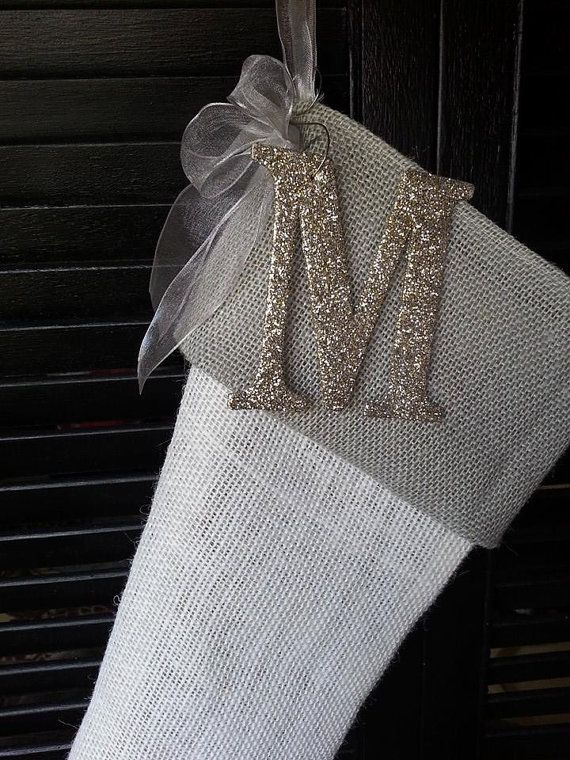 Elegant grey burlap Christmas stockings by RedeemedCustomDesign