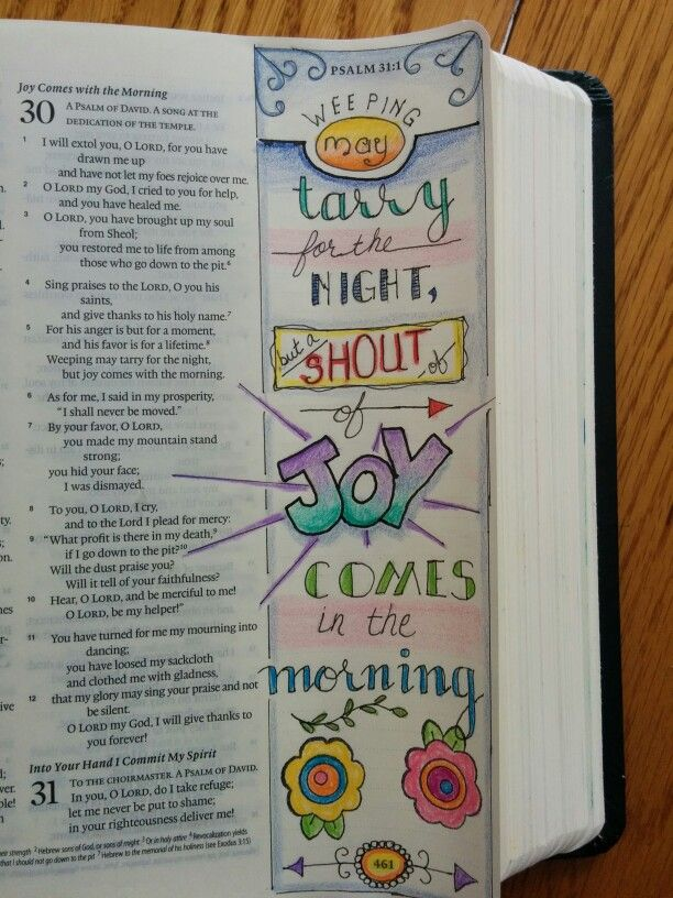 Bible journalling. Joy comes in the morning.