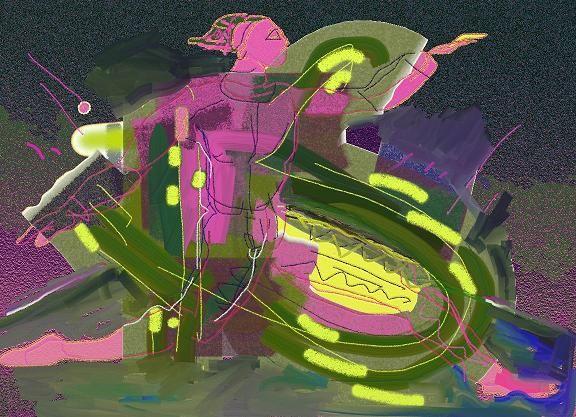 """Victor Shmokhin  """"Бегущий клоун"""".2010г Бумага /компьютерное  искусство. 30х43."""