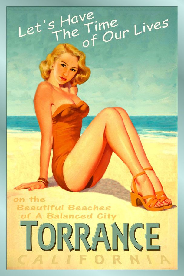 TORRANCE California New Original Poster Miley Cyrus Beach Pin Up Art Print 241 #PinUp