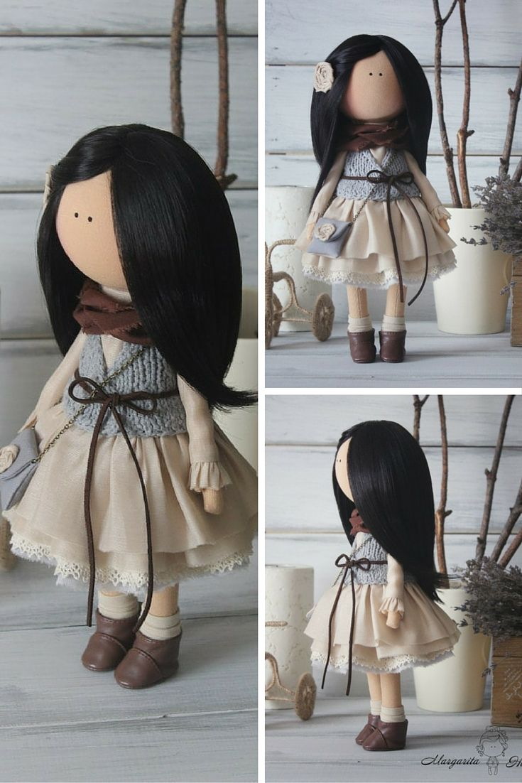 Art doll Handmade brunette grey Soft doll Collectable doll Decor doll Baby doll…