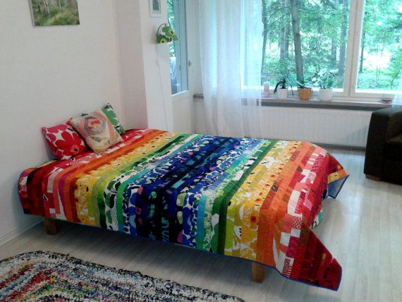 Modern rainbow patchwork quilt made from Marimekko fabric, Scandinavian contemporary bed cover, King, Double or Twin bedspread, stripe quilt