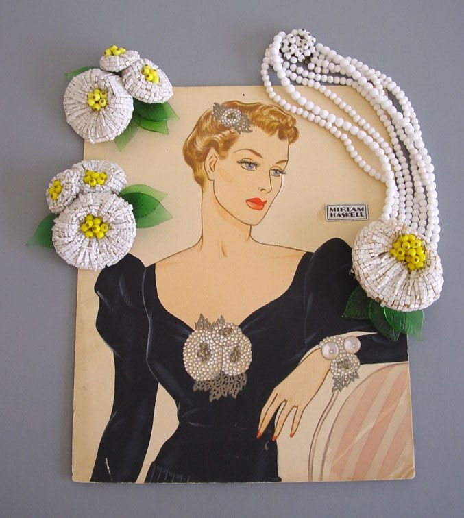 Miriam Haskell - Frank Hess white glass bugle beaded flower necklace with yellow bead center and green pressed glass leaves, four strand necklace, circa 1940 - Larry Austin original watercolor advertising