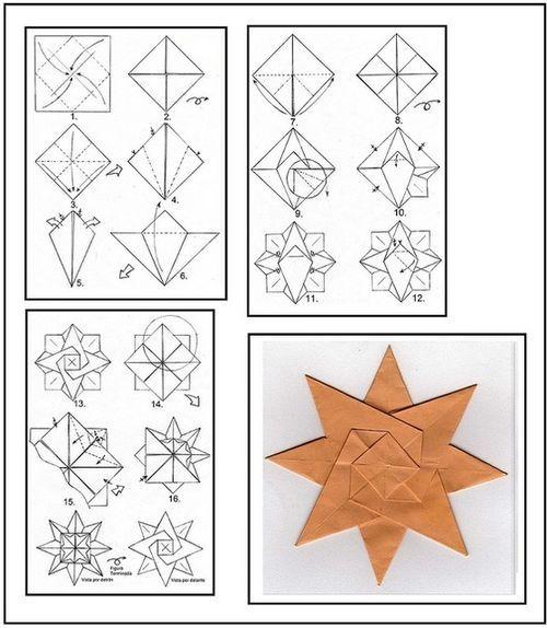 diagramme origami étoile à 8 branches